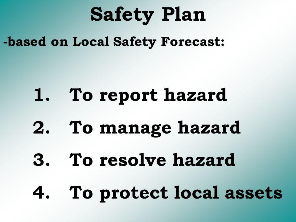 Safety Plan 2. To manage hazard 3. To resolve hazard