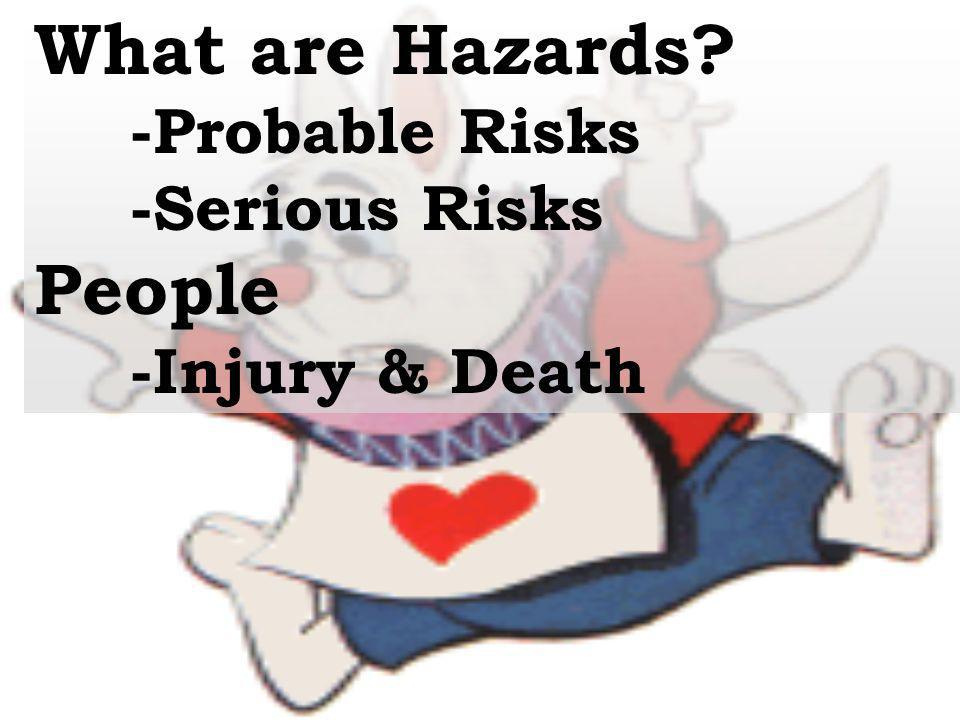 What are Hazards People -Probable Risks -Serious Risks