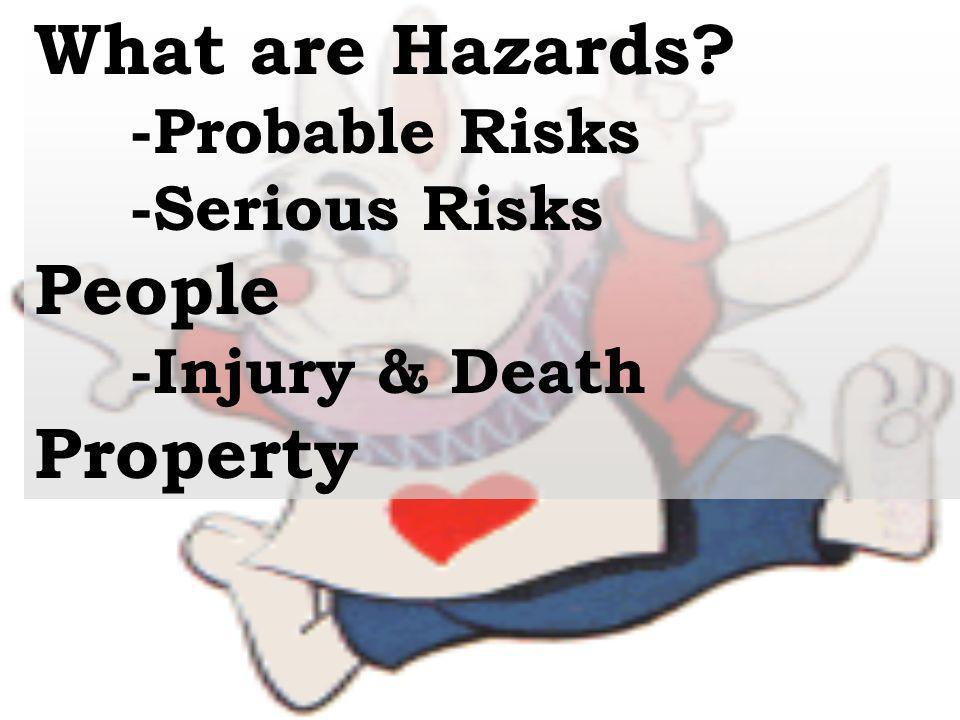 What are Hazards People Property -Probable Risks -Serious Risks