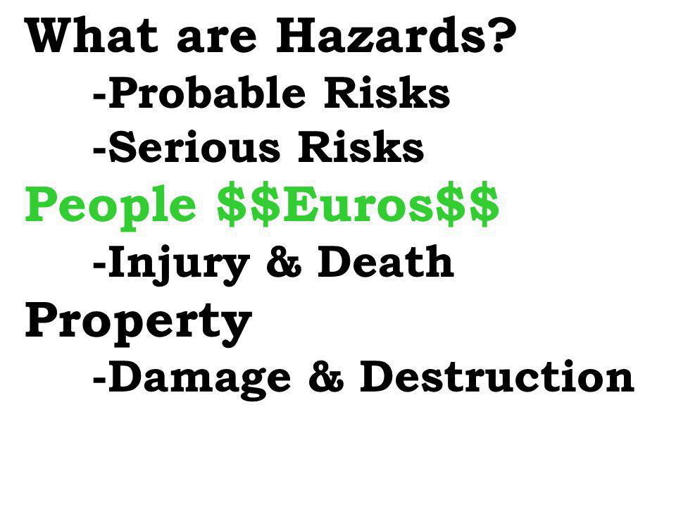 What are Hazards People $$Euros$$ Property -Probable Risks