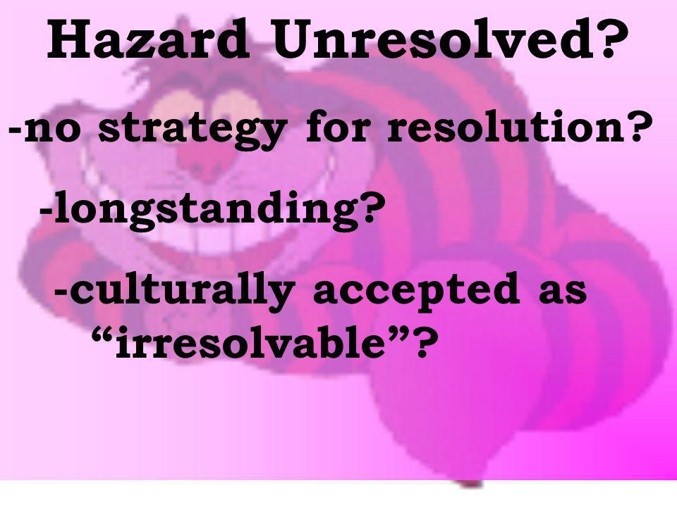 Hazard Unresolved -no strategy for resolution -longstanding