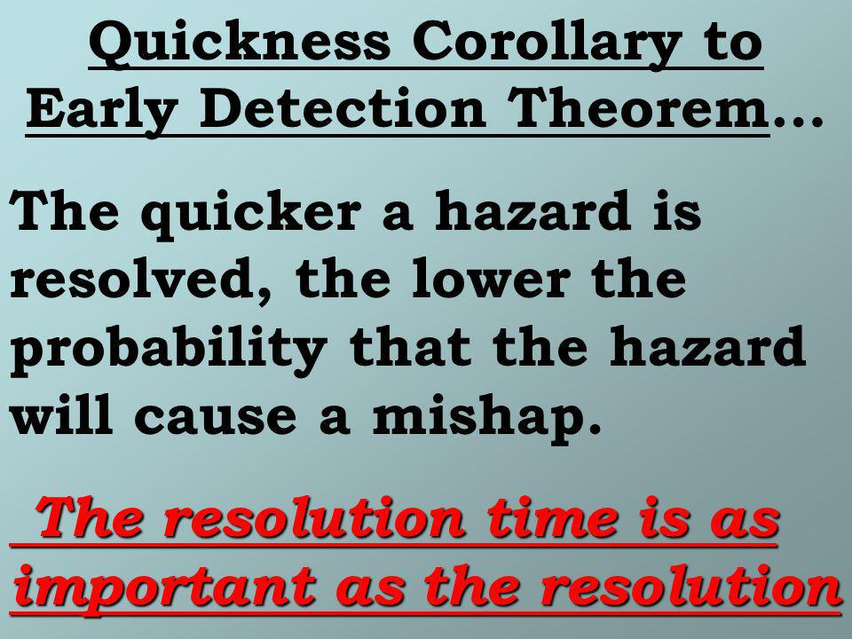 Quickness Corollary to Early Detection Theorem…