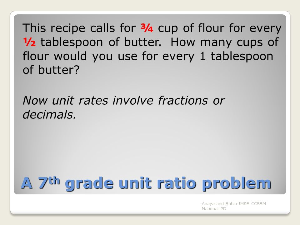 A 7th grade unit ratio problem