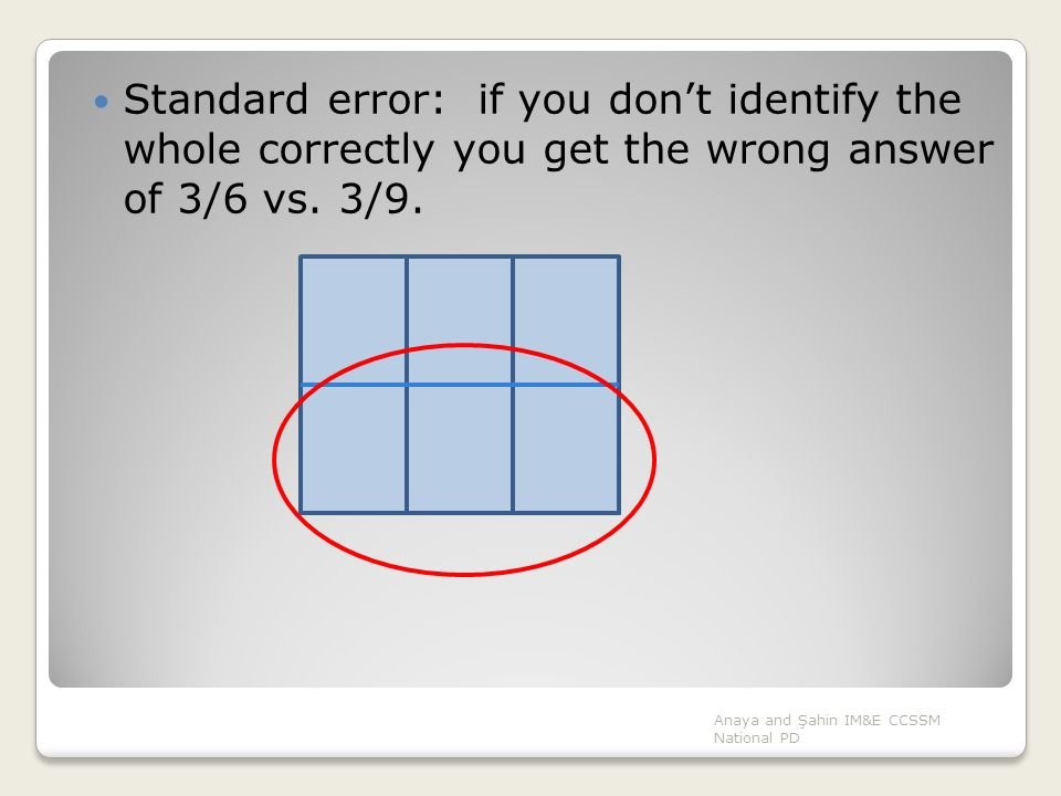 Standard error: if you don't identify the whole correctly you get the wrong answer of 3/6 vs. 3/9.