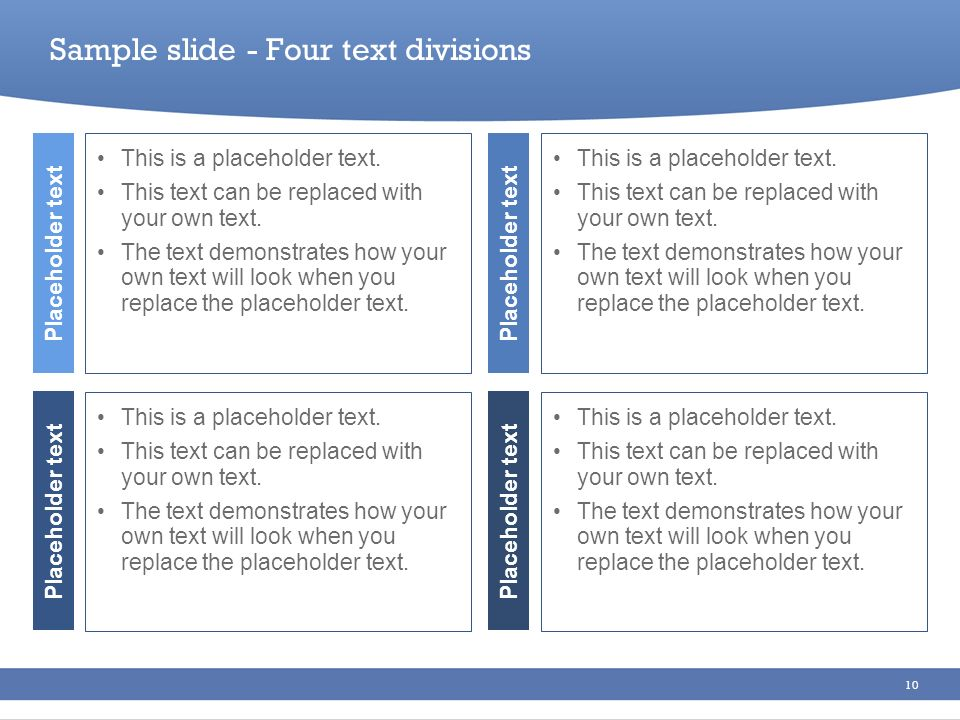 Sample slide - Four text divisions