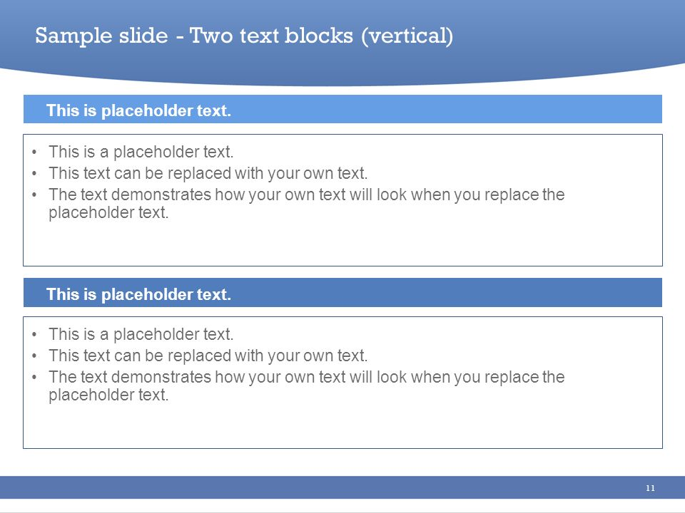 Sample slide - Two text blocks (vertical)