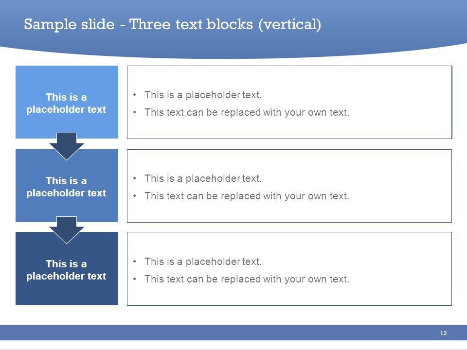 Sample slide - Three text blocks (vertical)