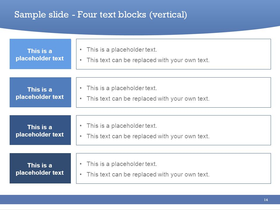 Sample slide - Four text blocks (vertical)