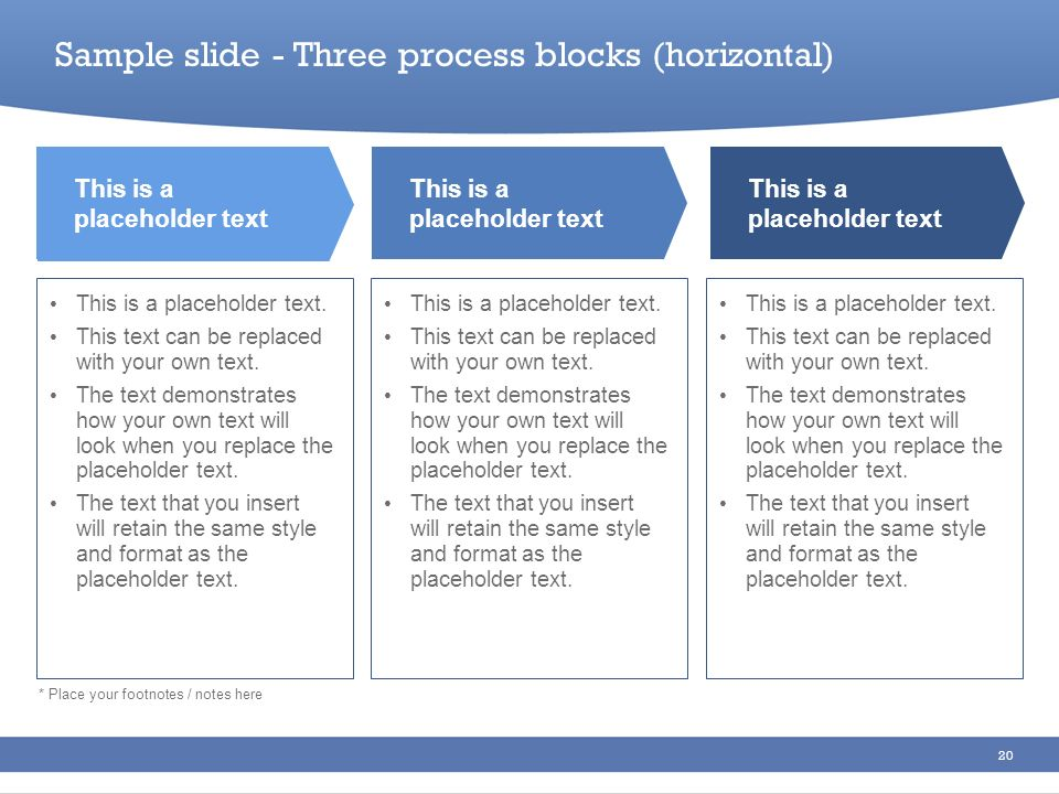 Sample slide - Three process blocks (horizontal)