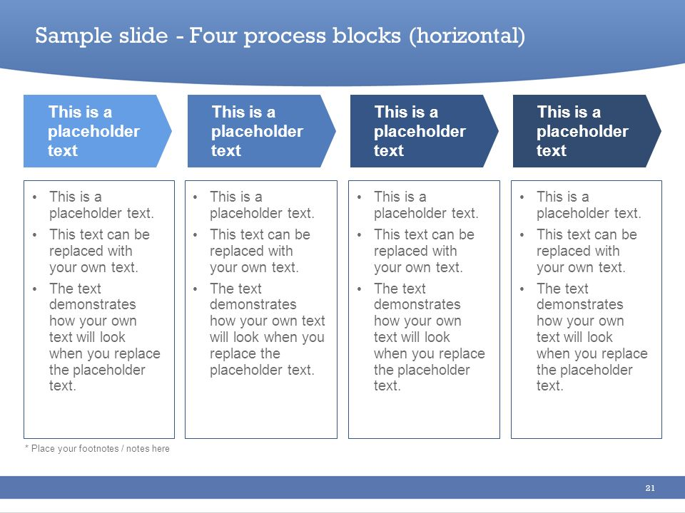Sample slide - Four process blocks (horizontal)
