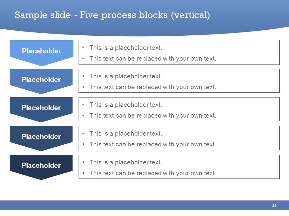 Sample slide - Five process blocks (vertical)