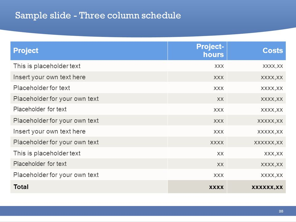 Sample slide - Three column schedule