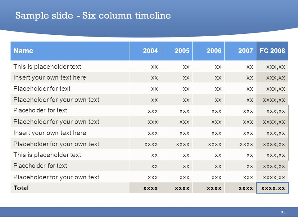Sample slide - Six column timeline
