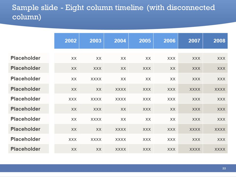 Sample slide - Eight column timeline (with disconnected column)