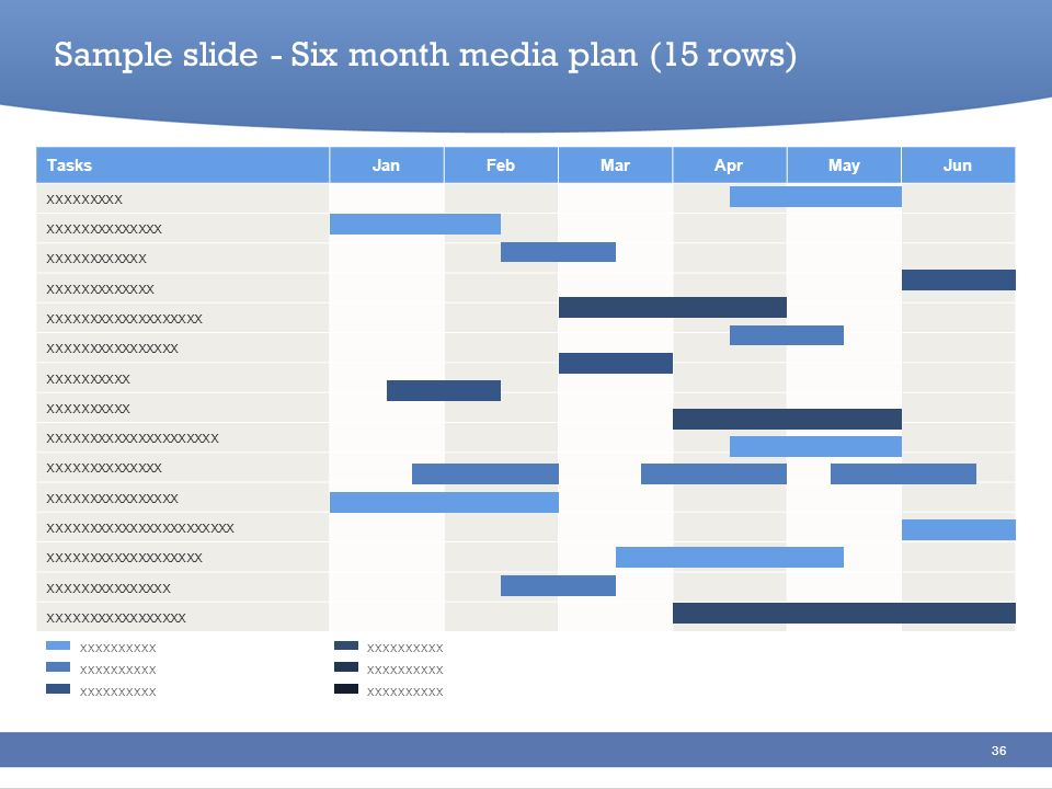 Sample slide - Six month media plan (15 rows)