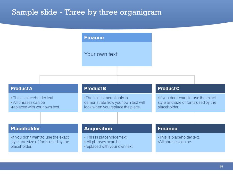 Sample slide - Three by three organigram