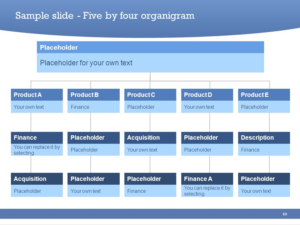 Sample slide - Five by four organigram