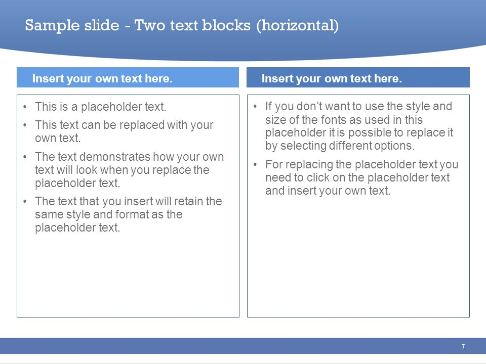 Sample slide - Two text blocks (horizontal)