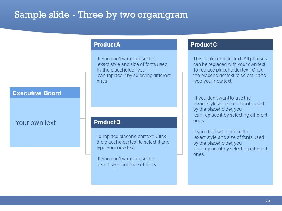 Sample slide - Three by two organigram