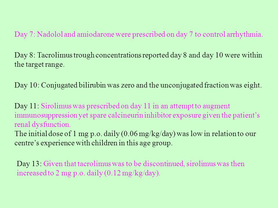 Day 7: Nadolol and amiodarone were prescribed on day 7 to control arrhythmia.