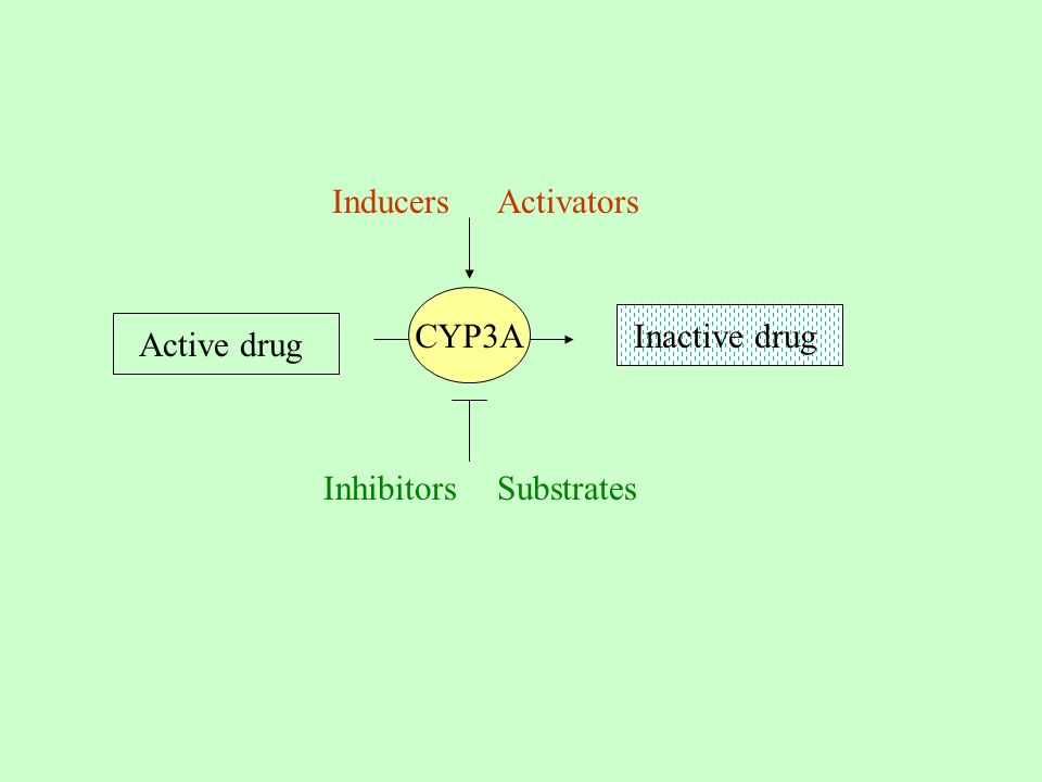 Inducers Activators CYP3A Inactive drug Active drug Inhibitors Substrates