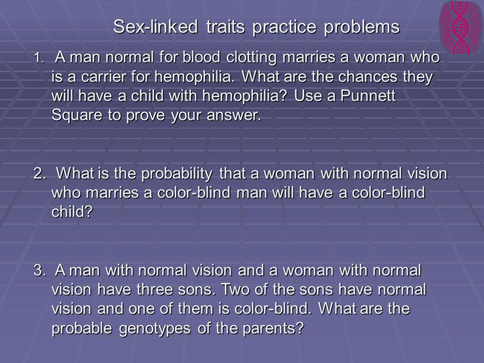 Sex-linked traits practice problems