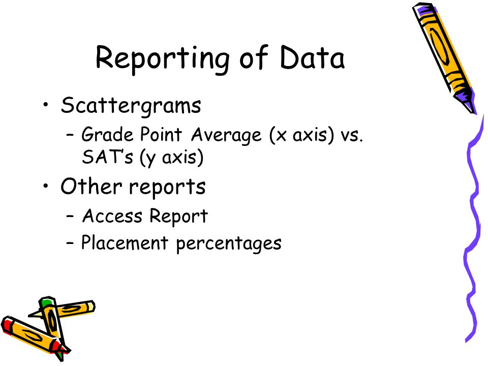 Reporting of Data Scattergrams Other reports