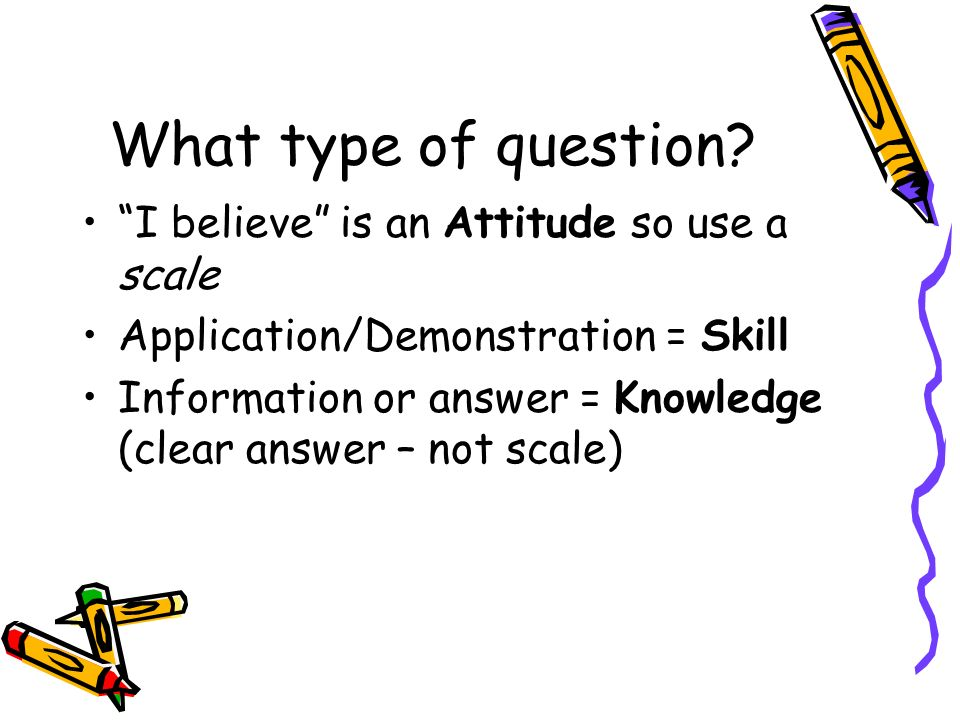 What type of question I believe is an Attitude so use a scale