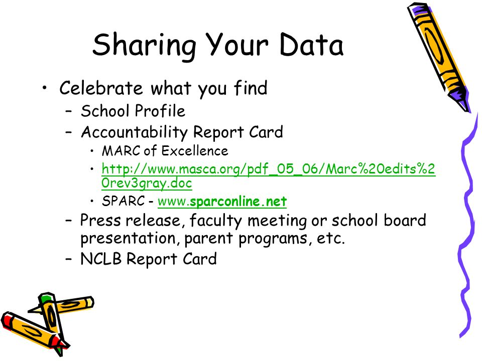 Sharing Your Data Celebrate what you find School Profile