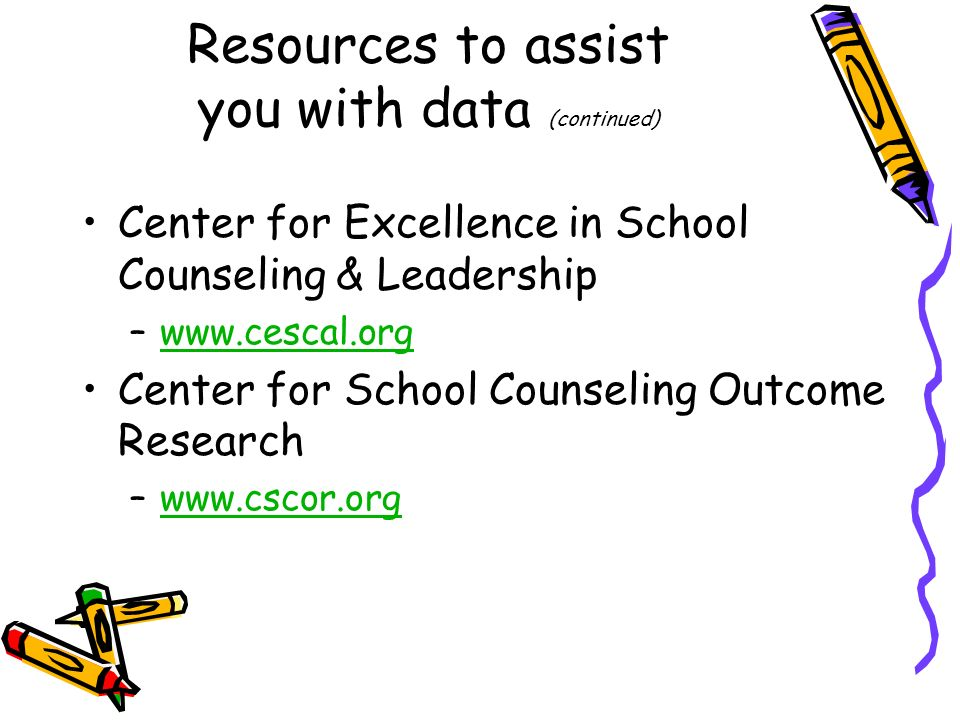 Resources to assist you with data (continued)