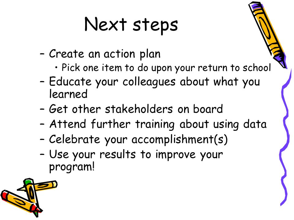 Next steps Create an action plan