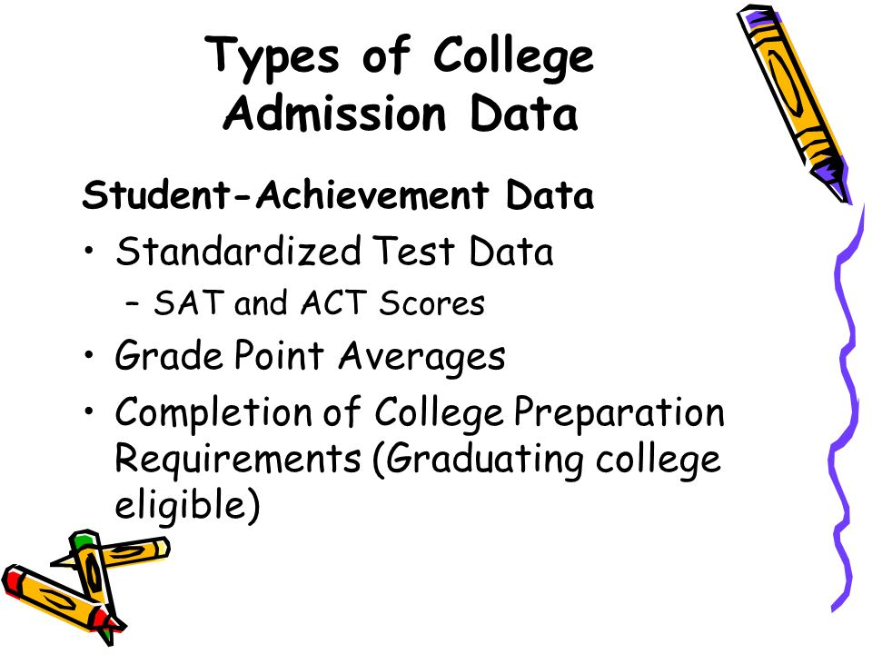 Types of College Admission Data