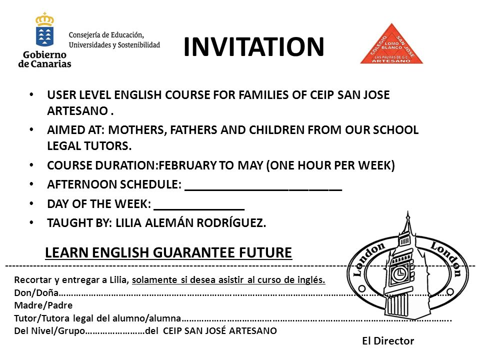 INVITATION LEARN ENGLISH GUARANTEE FUTURE
