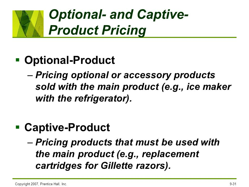 Optional- and Captive-Product Pricing