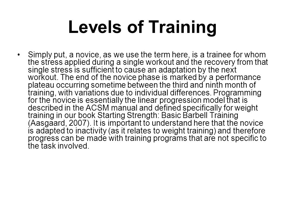 Levels of Training