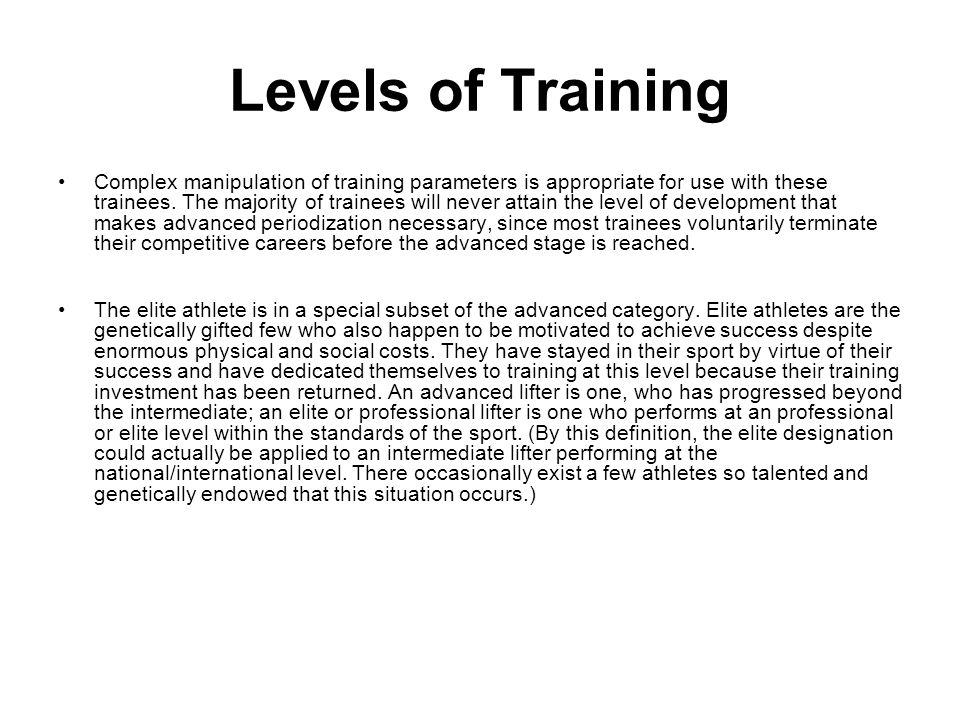 Levels of Training