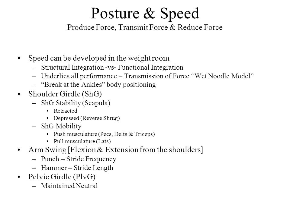 Posture & Speed Produce Force, Transmit Force & Reduce Force