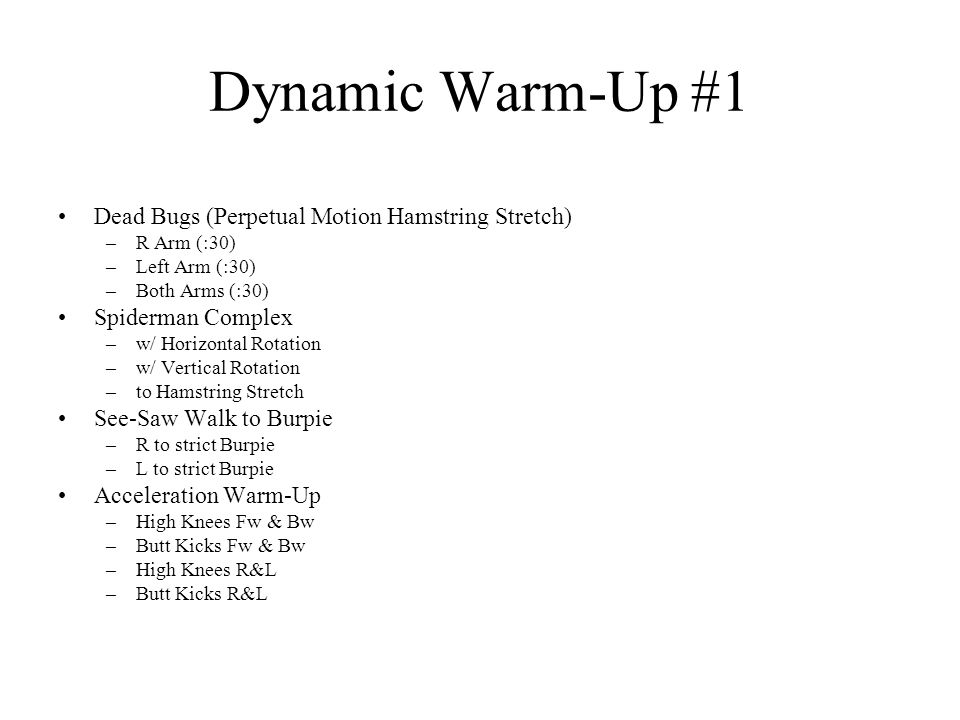 Dynamic Warm-Up #1 Dead Bugs (Perpetual Motion Hamstring Stretch)