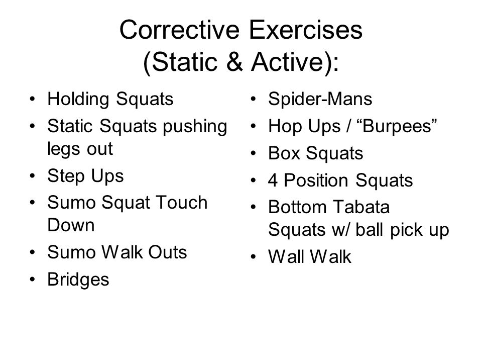 Corrective Exercises (Static & Active):