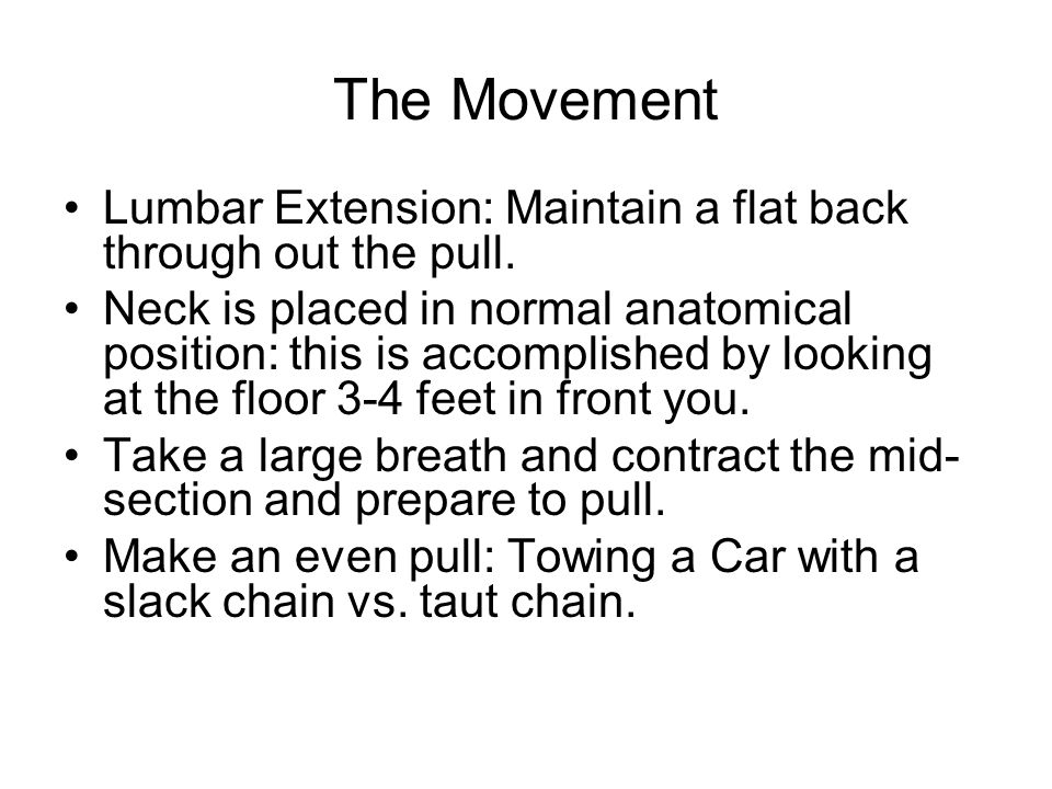 The Movement Lumbar Extension: Maintain a flat back through out the pull.
