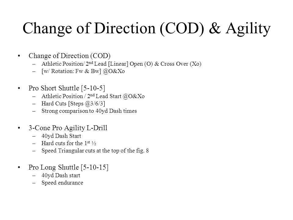 Change of Direction (COD) & Agility
