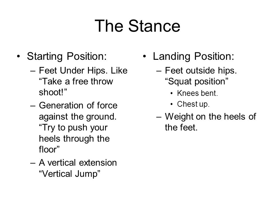 The Stance Starting Position: Landing Position: