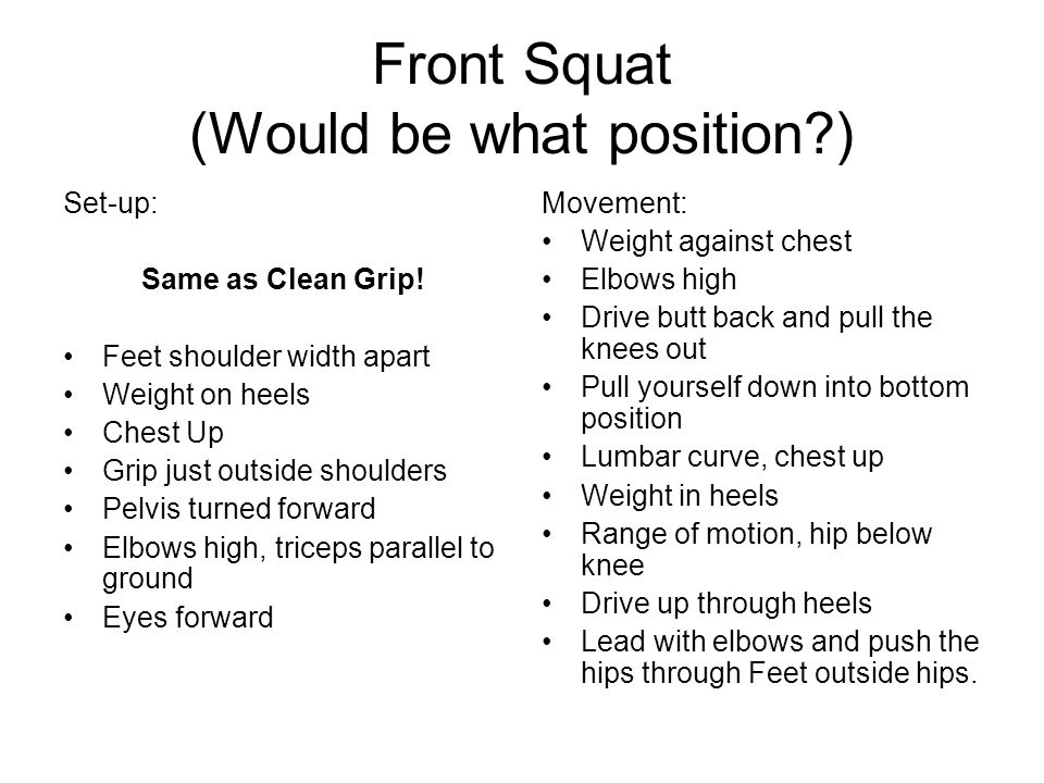 Front Squat (Would be what position )