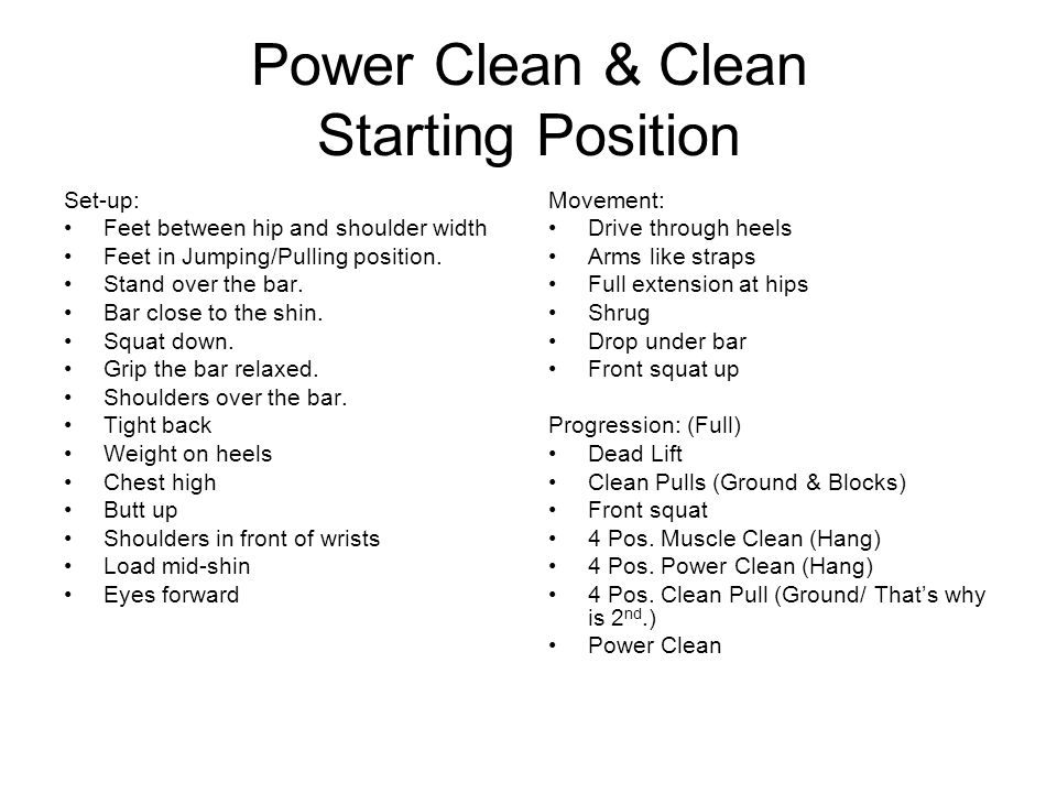 Power Clean & Clean Starting Position