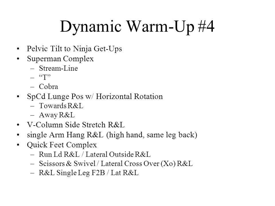 Dynamic Warm-Up #4 Pelvic Tilt to Ninja Get-Ups Superman Complex