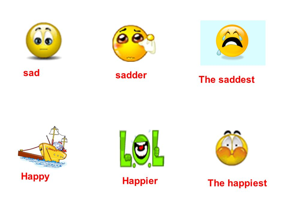 sad sadder The saddest Happy Happier The happiest