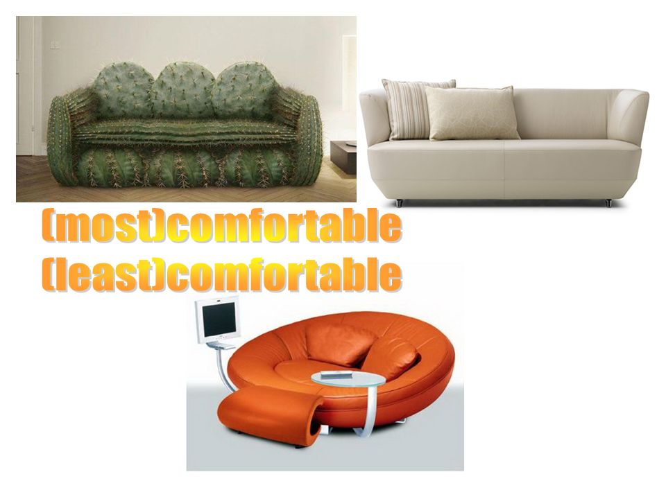 (most)comfortable (least)comfortable