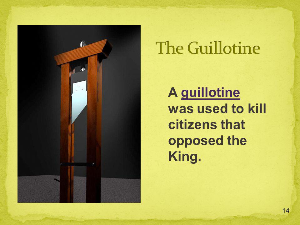 The Guillotine A guillotine was used to kill citizens that opposed the King.