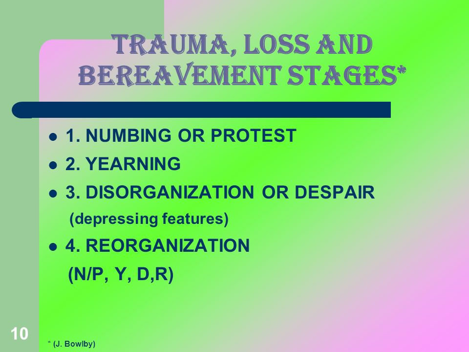 TRAUMA, LOSS AND BEREAVEMENT stages*