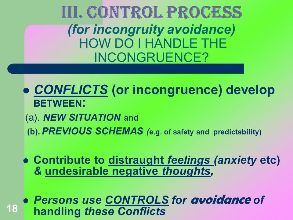 III. CONTROL PROCESS (for incongruity avoidance) HOW DO I HANDLE THE INCONGRUENCE